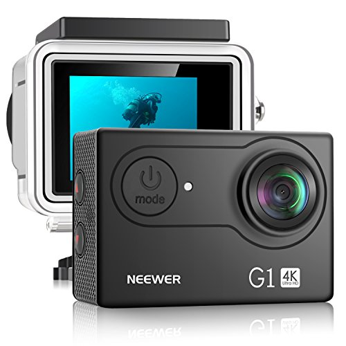Neewer G1 Ultra HD 4 Karat Aktion Kamera 12MP 98ft Unterwasser Wasserdicht 170 Grad Weitwinkel WiFi Sport High Tech Sensor und 2 Zoll Bildschirm und Montage Zubehör Set (Schwarz)