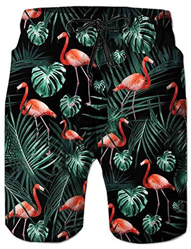 uideazone Herren Flamingos Short Sport Hawaii Graphic Short Kurze Hose