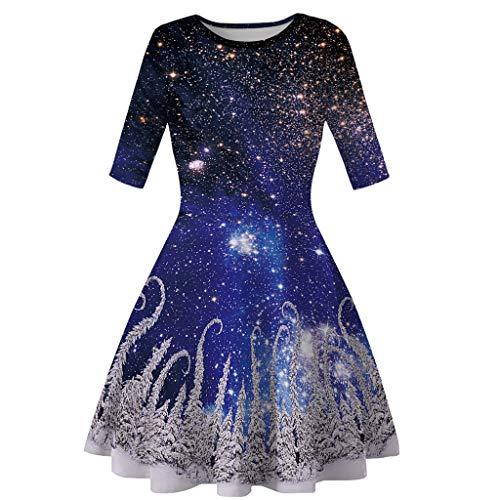 Omiky Eltern-Kind Langarm Weihnachten Digitaldruck Kleid Prinzessin Kleid Teen Kleinkind Kinder Mädchen Mama Me Langarm 3D-Druck Weihnachten Weihnachten Kleid - M&m Blauen Kleid Teen Kostüm