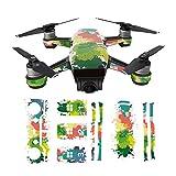 Hzjundasi Sunscreen Envolver Cuerpo+3*Batería+Brazo+Remoto Controlador Vistoso Pegatina Calcomanía Piel Set para DJI Spark Drone Modelo ZA03