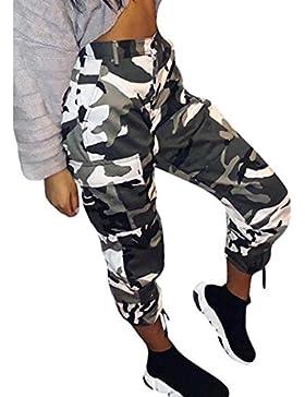 DOGZI_Pantalones De Camuflaje para Mujer Pantalones De CháNdal De Carga Camo Casual Pantalones De Rock Hip Hop...