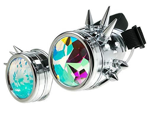 MFAZ Morefaz Ltd Schutzbrille Schweißen Sonnenbrille Welding Cyber LED Goggles Steampunk Goth Round Cosplay Brille Party Fancy Dress (Kaleidoscope Silver Spikes) (Herren Spike Beanie)