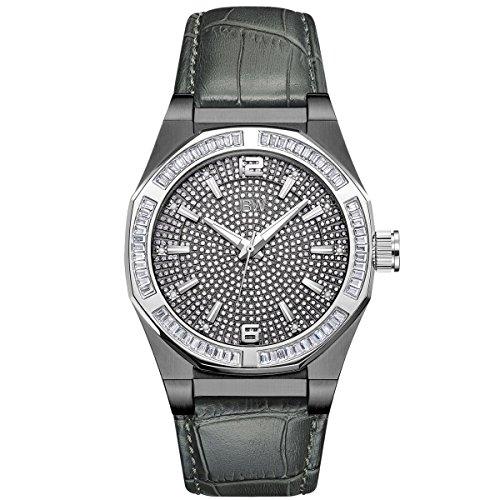 JBW Hombres del Reloj de Diamond con Cristales de Swarovski Negro y Gris