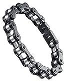 Aoiy Herren-Armband, Edelstahl, Motorradfahrer Fahrradkette, Schwarz-Silber-Farbe, ccb083he