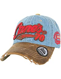 ililily Cane's Distressed Vintage Embroidered Baseball Cap Snapback Trucker Hat
