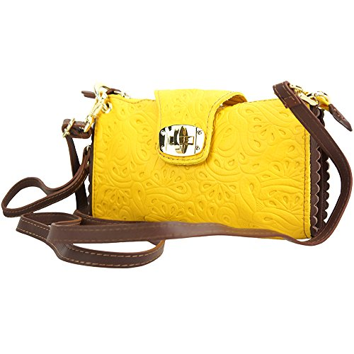 "BORSA A TRACOLLA ""BE EXCLUSIVE"" IN PELLE MORBIDA STAMPATA 8611S Giallo-marrone"