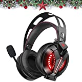 Combatwing Cuffie Gaming Leggere Avanzate con Microfono a Cancellazione Rumore e 7,1 Audio Surround, Cuffie Over-ear Cuscinetti Morbidi, LED, Controllo Mic/Volume per PS4 Xbox One PC Switch