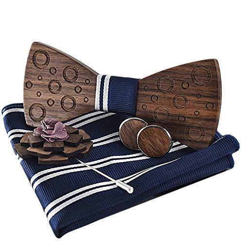 MOZEE Herren Holz Fliege, Einstecktuch, Manschettenknöpfe Geschenkset (M75-B)