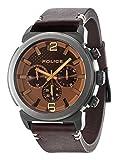 Police PL.94372AEU/12 - Reloj de cuarzo para hombres con esfera marrón y correa marrón de cuero