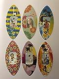 Fotorahmen, Surfbrett-Magnete, kleiner Bilderrahmen, ideales Weihnachtsgeschenk, Strumpffüller. blumen