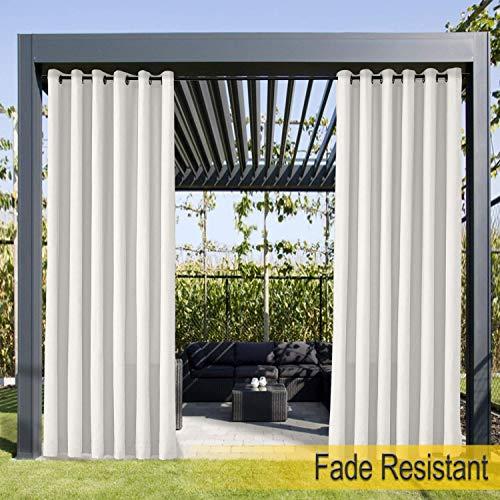 Wasserdicht, Verblassen Widerstandsfähig Terrasse Vorhänge Weiß 213B x 244H cm, Outdoor Vorhang mit Rustproof Ösen für Veranda, Pergola, Cabana, Covered Patio, Gazebo (Grau Und Gelb-vorhang-panels)