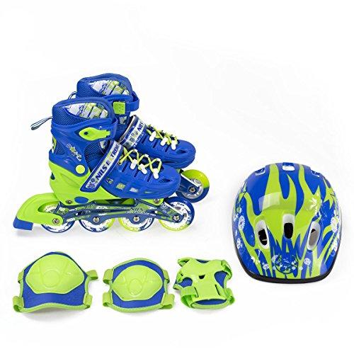 NILS Kinder Inlineskates + Schutzset Gear Gr. 31-34 35-38 Verstellbar (35-38 Verstellbar)