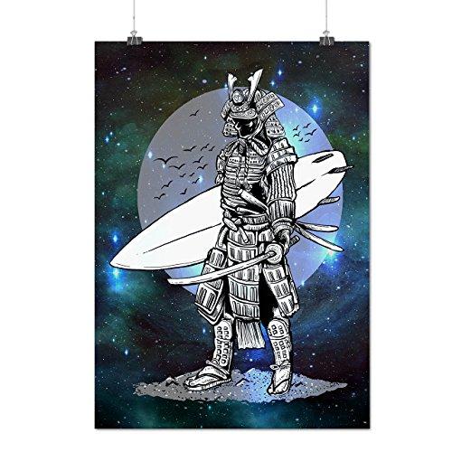 Krieger Surfen Cool Mode Mattes/Glänzende Plakat A3 (42cm x 30cm) | (Weibliche Samurai Krieger Kostüm)