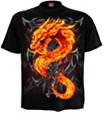 Spiral T-shirt pour homme Motif Fire Dragon Noir