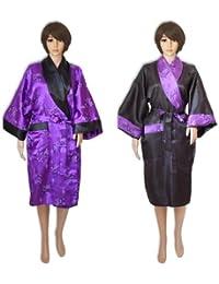 Peignoir satin, kimono, robe de chambre, tunique, réversible, mauve