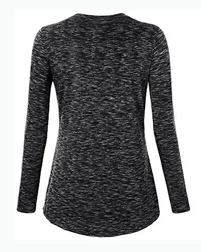 Camicetta Blusa Manica Lunga Casual V-Collo Per Donna T-Shirt Casuale Tops Grigio