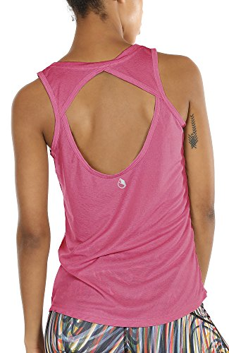 icyzone Damen Yoga Sport Tank Top - Rückenfrei Fitness Shirt Oberteil ärmellos Training Tops (XL, Sugar Coral
