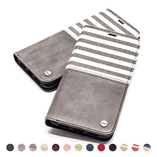 QIOTTI Hülle Kompatibel mit iPhone 6s Plus I iPhone 6 Plus Ledertasche aus Hochwertigem Leder RFID NFC Schutz mit Kartenfach Standfunktion in Grau - 6 Plus Telefonieren Iphone