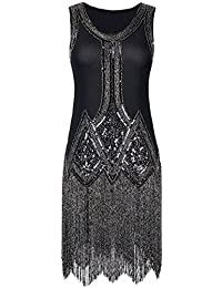 PrettyGuide Mujered 1920s Vintage Perlas Flecos Inspirado Negro Vestido Charleston