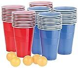 infactory Bierpong: Trinkspiel-Set Bier Pong mit 60 Bechern (je 450 ml) und 5 Bällen (Bierpong Becher)