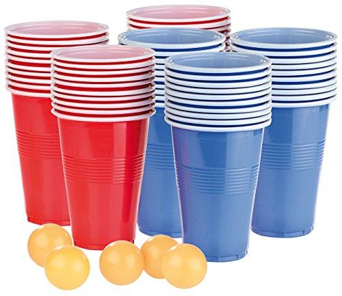 infactory Bierpong: Trinkspiel-Set für Bier Pong mit 60 Bechern (je 450 ml) und 5 Bällen (Beer Pong)