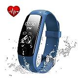 Fitness-Tracker mit Herzfrequenzmonitor, Aktivitäten-Tracker, wasserdicht, Smart-Armband, Bluetooth, kabellos, Schrittzähler, Armband, Schlafmonitor, Smartwatch für Android- und iOS-Smartphones , blau