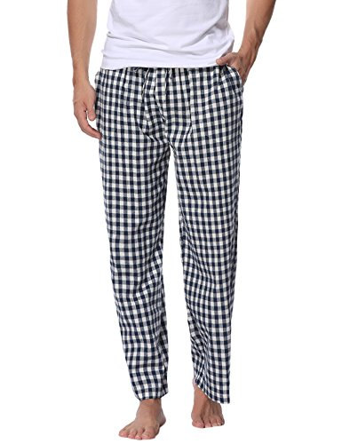 Aibrou pantalones de pijama Hombre de cuadros de forro Polar de 100% Algodón PhSnM7