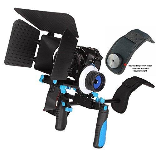 Morros Pro DSLR Rig Kit Schulterstativ mit Follow Focus und Matte Box und Gegengewicht f¨¹r alle DSLR-Kameras und Video-Camcorder (Schulter Camara)