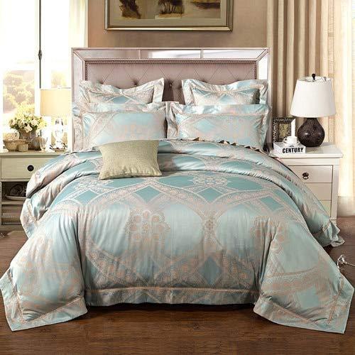 RONGXIE Silk Cotton Bettwäsche-Sets Satin King/Queen Size Bett in Einer Tasche Doona/Duvet/Quilt Cover Bettwäsche Mädchen Rüschen Bettdecke -