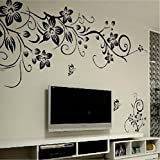 Black butterfly diagonal vine living room TV background decoration can remove the wall stickers