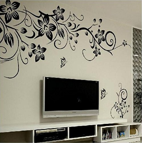 black-butterfly-diagonal-vine-living-room-tv-background-decoration-can-remove-the-wall-stickers