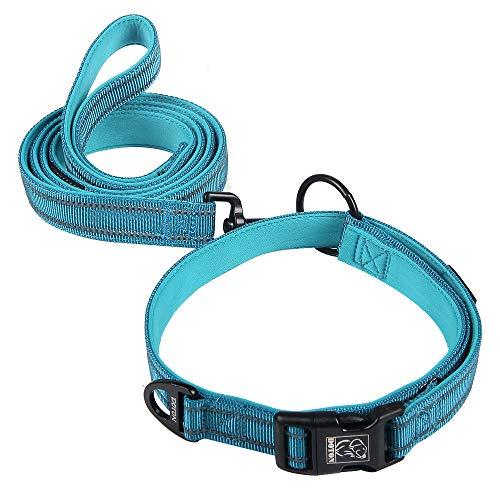 Dotoner Komfortables Hundehalsband mit Leine, sehr weiches Neopren, gepolstert, für alle Rassen, verstellbare reflektierende Leine, Halsband-Set für kleine und mittelgroße Hunde