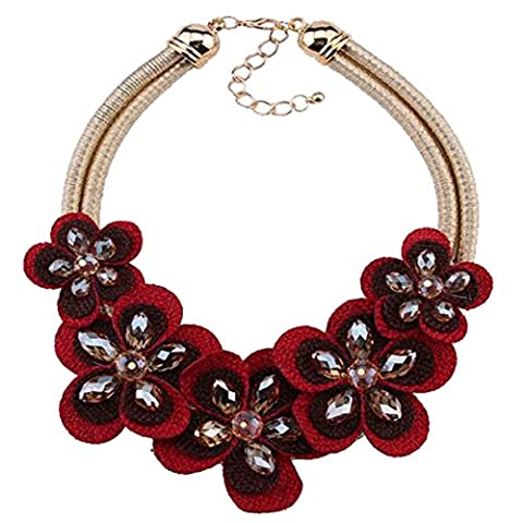 PLMOKN Fashion Flower Necklace Multi - Layer Short Paragraph Sweater Chain Ladies