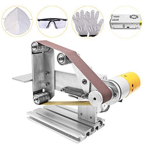 Huanyu Mini Bandschleifer DIY Bandschleifmaschine Elektrische Schleifmaschine Micro Desktop Poliermaschine mit 360W-24V-15A DC Motor/Schleifbänder (Drehzahlregelbar-30mm)