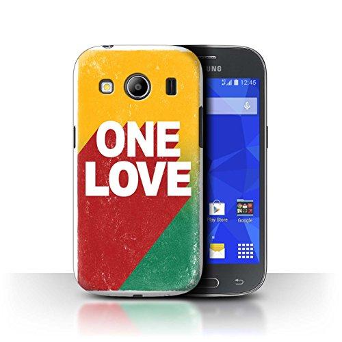Stuff4 Custodia/Cover/Caso/Cassa Rigide/Prottetiva Stampata con Il Disegno Arte Rasta Reggae per Samsung Galaxy Ace 4/G357 - One Love Manifesto