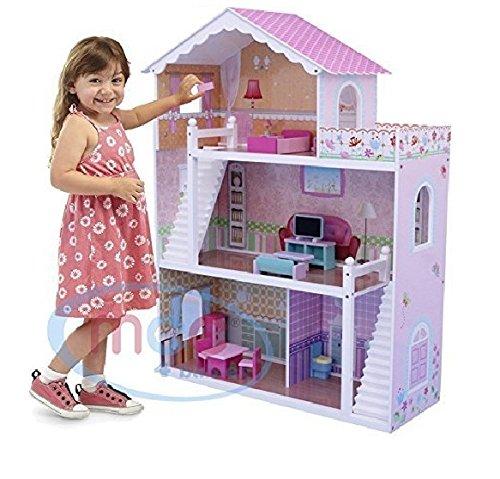 Maison de Poupée pour enfants avec Meubles & Escaliers