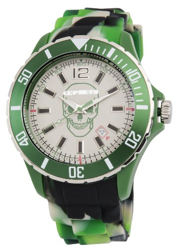 Cepheus Unisex Quartz Watch with Green Dial Analogue Display and Green Silicone Strap CPX01-090