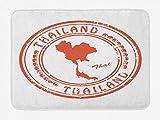 Soefipok Tappetino da Bagno Tailandese, Grungy Macchiato Passport Stamp Design Arrotondato Forma Tailandia ed Elefanti, Peluche Tappetino da Bagno Decorativo con Antiscivolo Backing