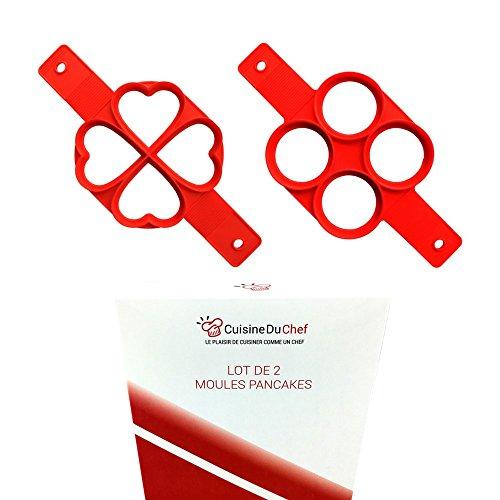 ✮ CuisineDuChef ✮ Lot de 2 moules silicones | Formes originales : coeur & rond | Moule anti-adhésif pour crêpes, pancakes, oeufs, blinis | Cuisson simple & rapide de vos pâtisseries