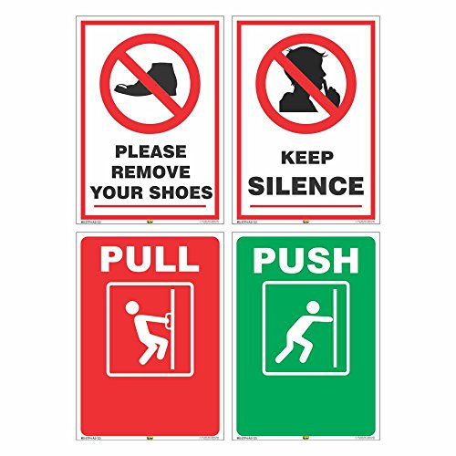 Mr. Safe Office Signs Combo Pack of 4 Self Adhesive Stickers (Each Size of 14.8cm X 21cm)
