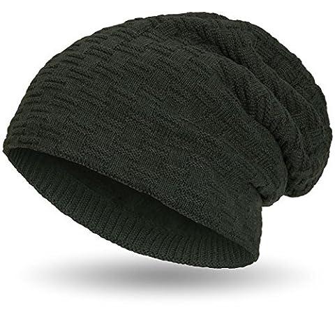 Compagno warm gefütterte Beanie Wintermütze sportlich-elegantes Flechtmuster mit weichem Fleece-Futter Mütze, Farbe:Oliv