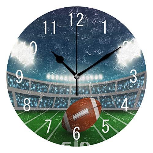 Use7 Home Decor American Football Stadion Sport Runde Acryl-Wanduhr ohne Ticken, geräuschlose Uhr, Kunst für Wohnzimmer, Küche, Schlafzimmer
