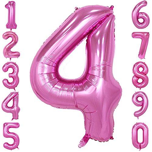 40-Zoll 0-9 in Rosa Nummer Foil Ballons Helium Zahlenballon Luftballon Riesenzahl Party Hochzeit Kindergeburtstag Geburtstag (Number 4)