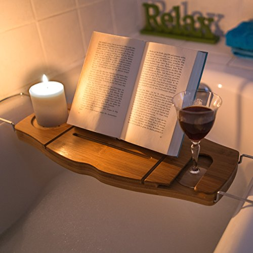 Relaxdays Bathtub Tray with Book Stand/Wine Glass Rack/Champagne ...