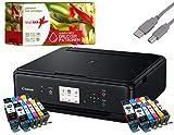 Canon PIXMA TS5050 Drucker Tintenstrahl-Multifunktionsgerät schwarz (Drucken, Scannen, Kopieren, Cloudlink) mit 20 komp. realink Druckerpatronen PGI570/CLI571 XL (ohne Originalpatronen)
