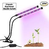 GLIME Grow LED Luce per Piante 18W Plant Grow Light con USB Doppio Interruttore Regolabile a 2 Livelli Morsetto a Molla Collo di Cigno Flessibile da 360° per Pianti Frutta Verdure Fiore per Serra/ Laboratorio/ Giardino