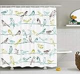 Abakuhaus Duschvorhang, Verschiedene Art der Vögel die auf Den Musikalischen Musikgeschöpfen der Drähte Sitzen Druck, Blickdicht aus Stoff mit 12 Ringen Waschbar Langhaltig Hochwertig, 175 X 200 cm