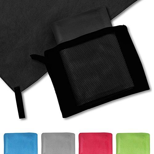 casa pura® Mikrofaser Handtuch Magic Dry | Schwarz | 80x180 | schnelltrocknend...