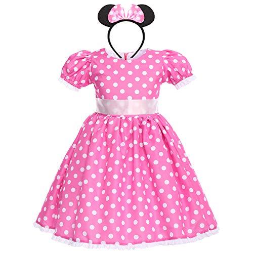 IWEMEK Baby Mädchen Polka Dot Prinzessin Minnie Kostüm A-Line Kleid Geburtstag Halloween Weihnachten Karneval Cosplay Kleid mit Maus Ohren Bowknot Partykleid Outfits Heißes Rosa 4-5 Jahre