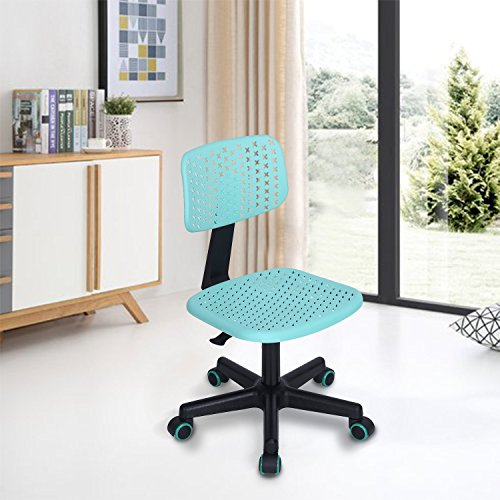 FurnitureR Home Office Silla de Escritorio Respaldo Mediano Giratoria Ajustable Ajustable para Niños Estudio, TURQUESA